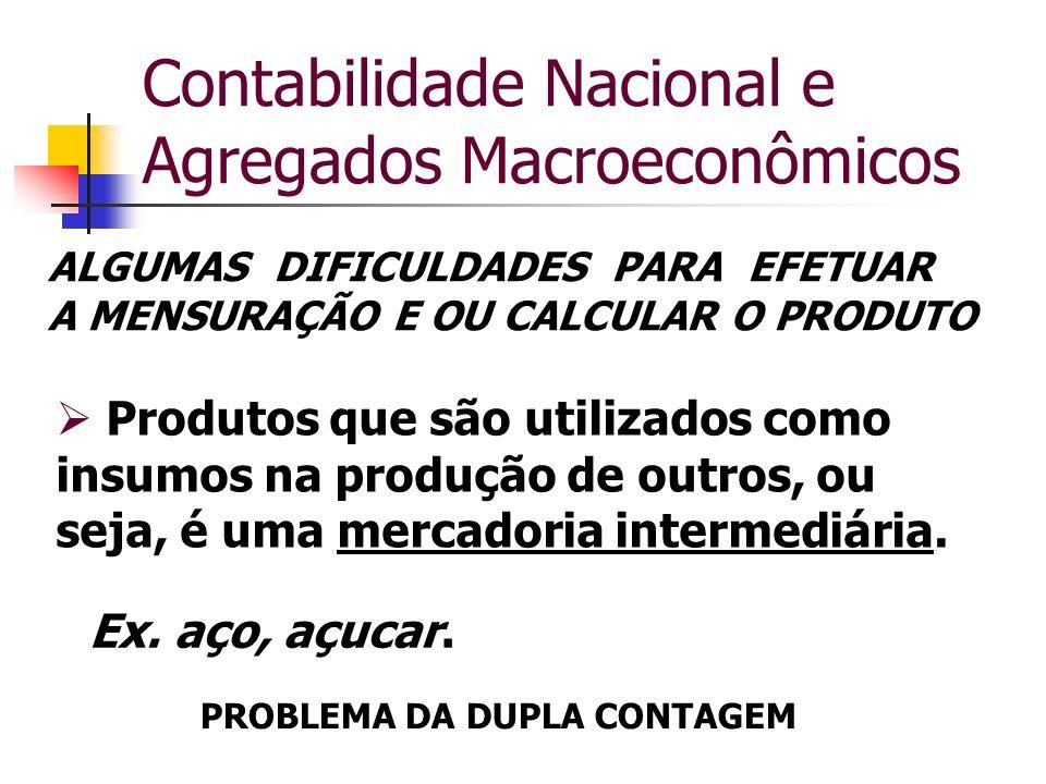 Contabilidade Nacional e Agregados Macroeconômicos Produtos que são utilizados como insumos na produção de outros, ou seja, é uma mercadoria intermedi