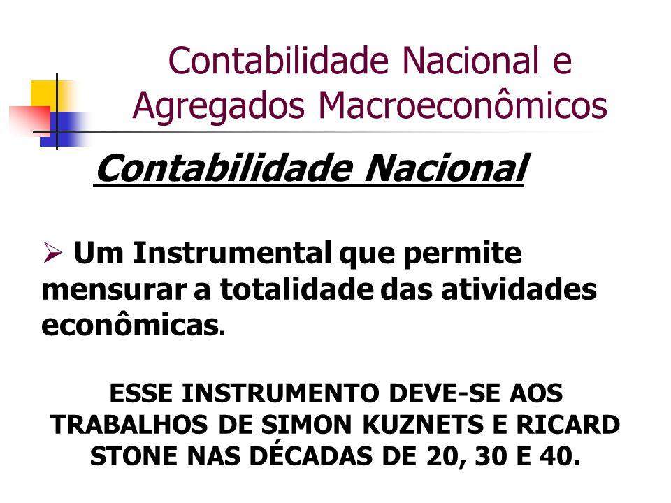 Contabilidade Nacional e Agregados Macroeconômicos Contabilidade Nacional Um Instrumental que permite mensurar a totalidade das atividades econômicas.