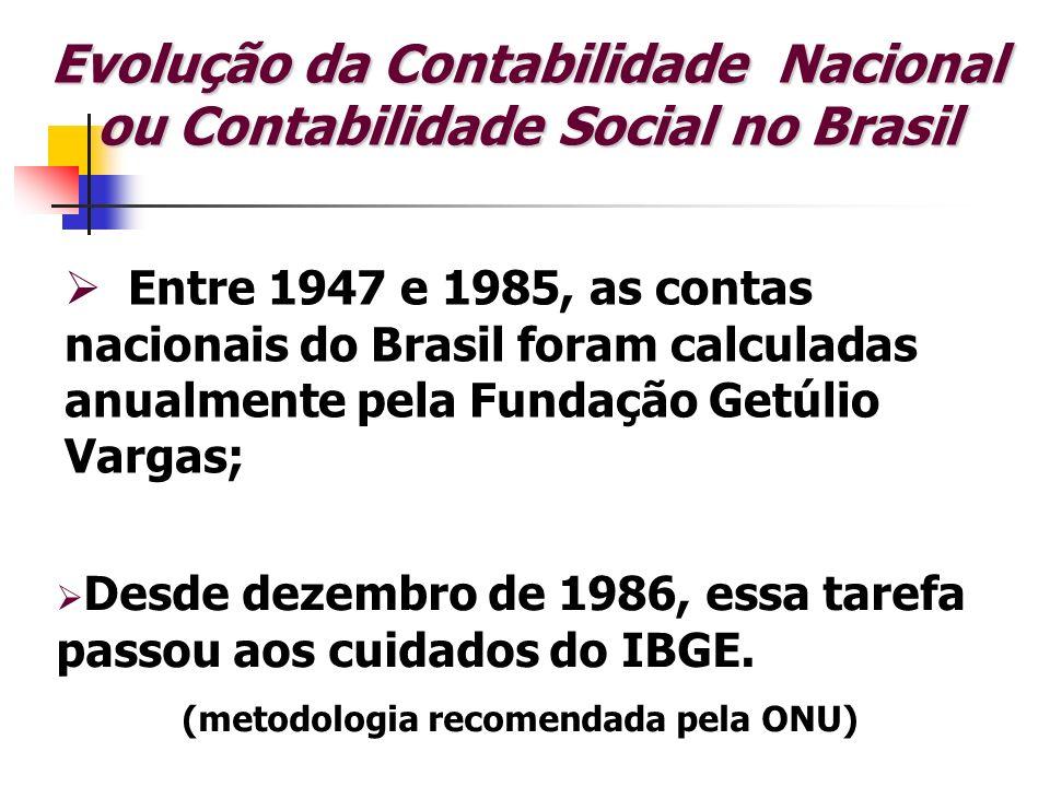 Evolução da Contabilidade Nacional ou Contabilidade Social no Brasil Entre 1947 e 1985, as contas nacionais do Brasil foram calculadas anualmente pela
