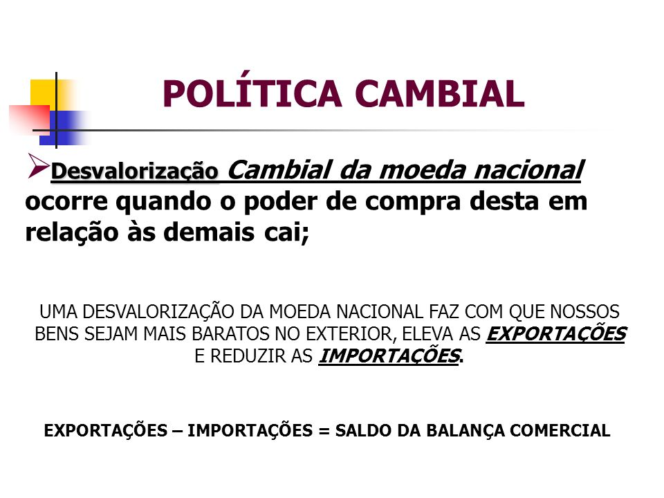 POLÍTICA CAMBIAL Desvalorização Desvalorização Cambial da moeda nacional ocorre quando o poder de compra desta em relação às demais cai; UMA DESVALORI