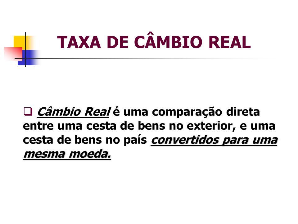 TAXA DE CÂMBIO REAL convertidos para uma mesma moeda. Câmbio Real é uma comparação direta entre uma cesta de bens no exterior, e uma cesta de bens no