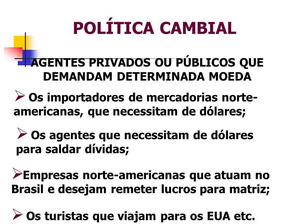 POLÍTICA CAMBIAL AGENTES PRIVADOS OU PÚBLICOS QUE DEMANDAM DETERMINADA MOEDA Os importadores de mercadorias norte- americanas, que necessitam de dólar