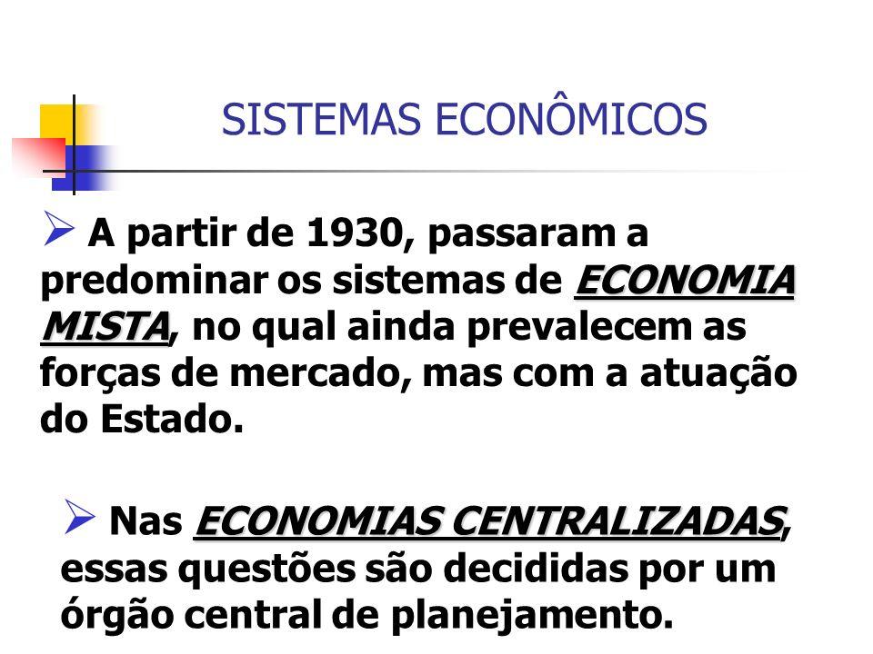 SISTEMAS ECONÔMICOS ECONOMIA MISTA A partir de 1930, passaram a predominar os sistemas de ECONOMIA MISTA, no qual ainda prevalecem as forças de mercad