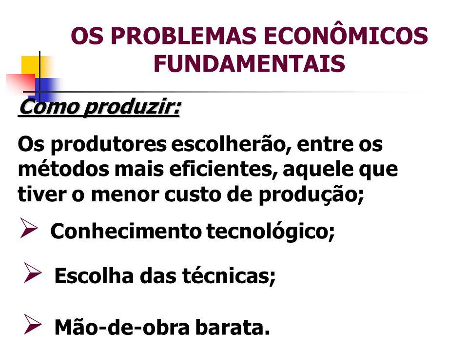 OS PROBLEMAS ECONÔMICOS FUNDAMENTAIS Para quem produzir: A decisão é tomada pelas empresas, em função da expectativa de realizar lucro; Mercado.