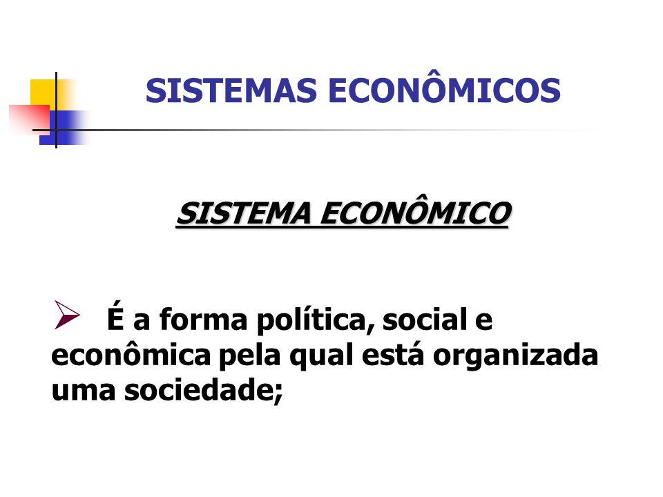 SISTEMA ECONÔMICO É a forma política, social e econômica pela qual está organizada uma sociedade;
