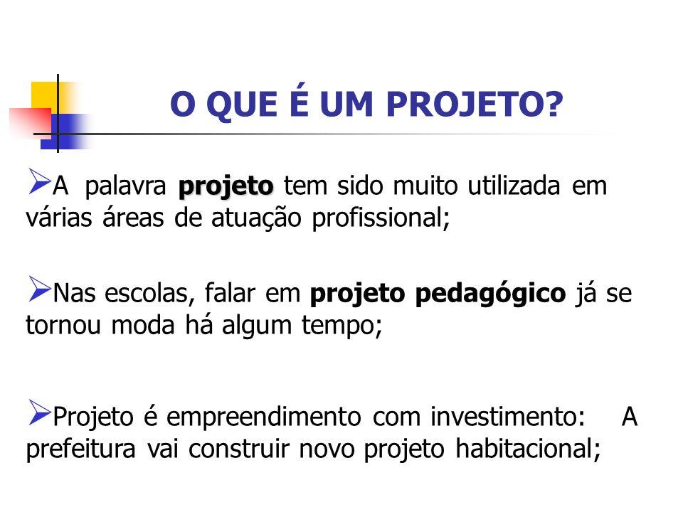 O QUE É UM PROJETO? projeto A palavra projeto tem sido muito utilizada em várias áreas de atuação profissional; Nas escolas, falar em projeto pedagógi