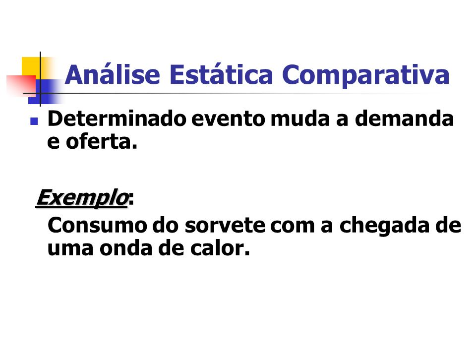 Análise Estática Comparativa Determinado evento muda a demanda e oferta. Exemplo Exemplo: Consumo do sorvete com a chegada de uma onda de calor.