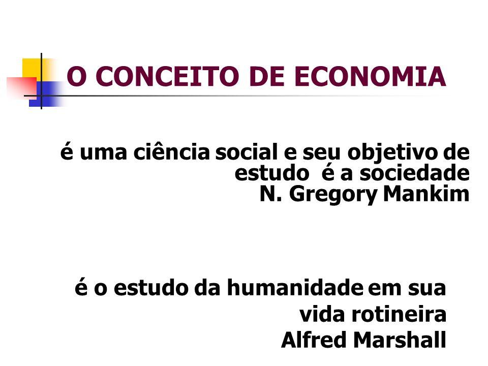 O CONCEITO DE ECONOMIA é uma ciência social e seu objetivo de estudo é a sociedade N. Gregory Mankim é o estudo da humanidade em sua vida rotineira Al