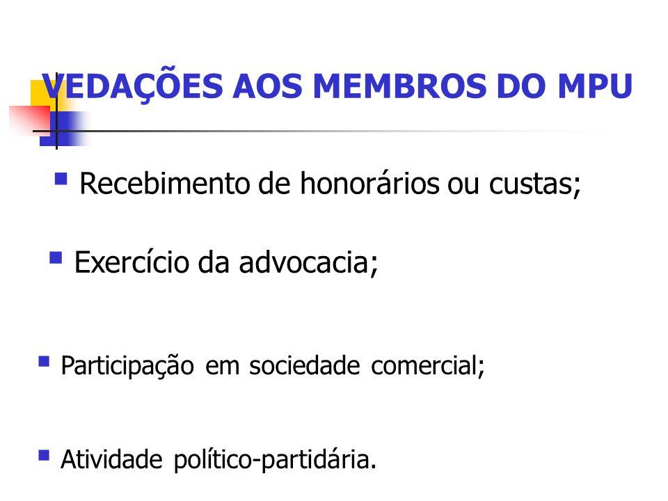 VEDAÇÕES AOS MEMBROS DO MPU Atividade político-partidária. Participação em sociedade comercial; Exercício da advocacia; Recebimento de honorários ou c