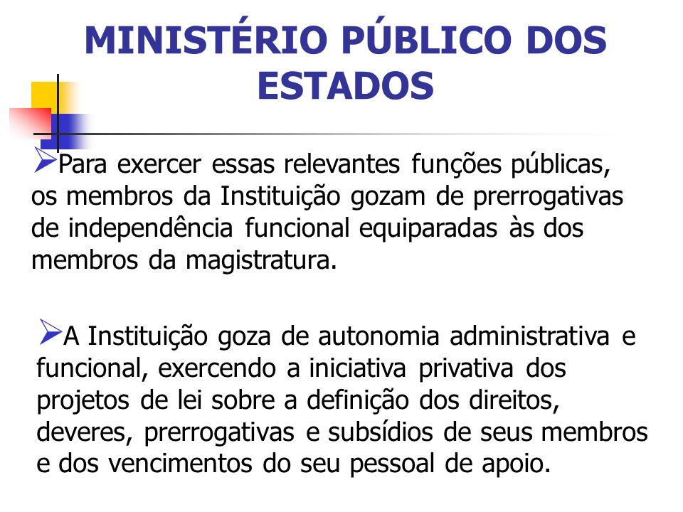 MINISTÉRIO PÚBLICO DOS ESTADOS Para exercer essas relevantes funções públicas, os membros da Instituição gozam de prerrogativas de independência funci