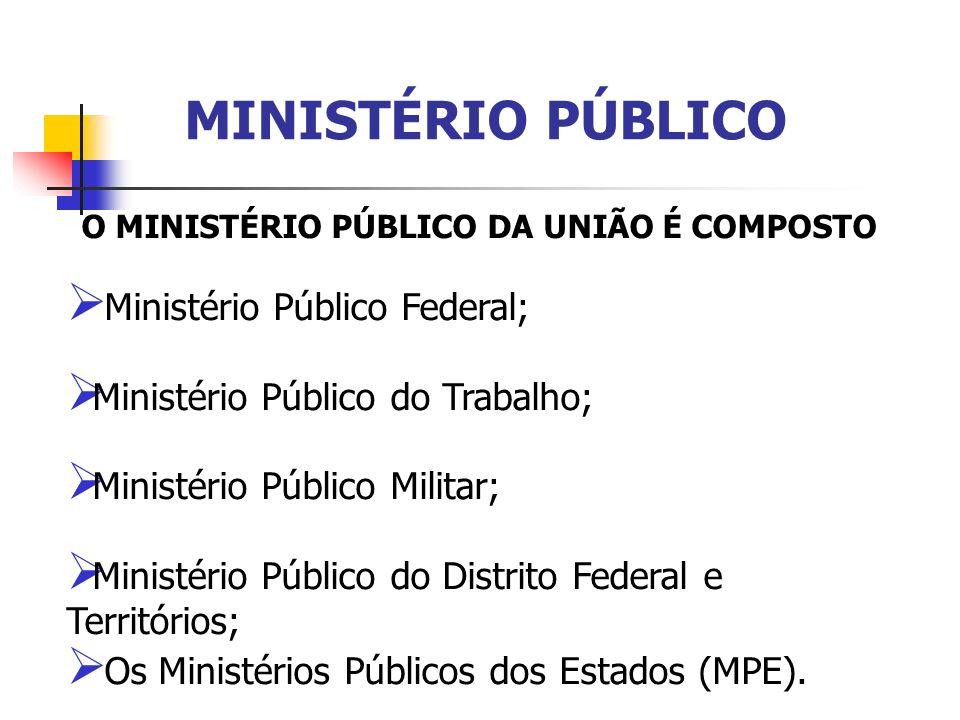 O MINISTÉRIO PÚBLICO DA UNIÃO É COMPOSTO Ministério Público Federal; Ministério Público do Trabalho; Ministério Público Militar; Ministério Público do