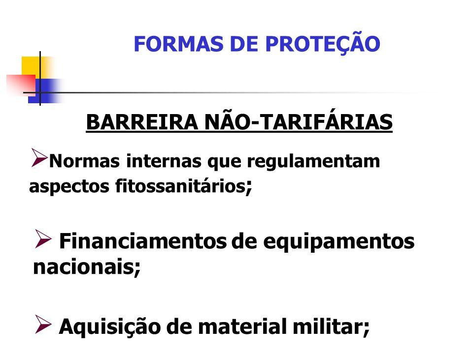 FORMAS DE PROTEÇÃO BARREIRA NÃO-TARIFÁRIAS Normas internas que regulamentam aspectos fitossanitários ; Aquisição de material militar; Financiamentos d