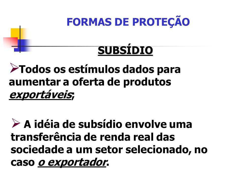 FORMAS DE PROTEÇÃO SUBSÍDIO Todos os estímulos dados para aumentar a oferta de produtos exportáveis; A idéia de subsídio envolve uma transferência de