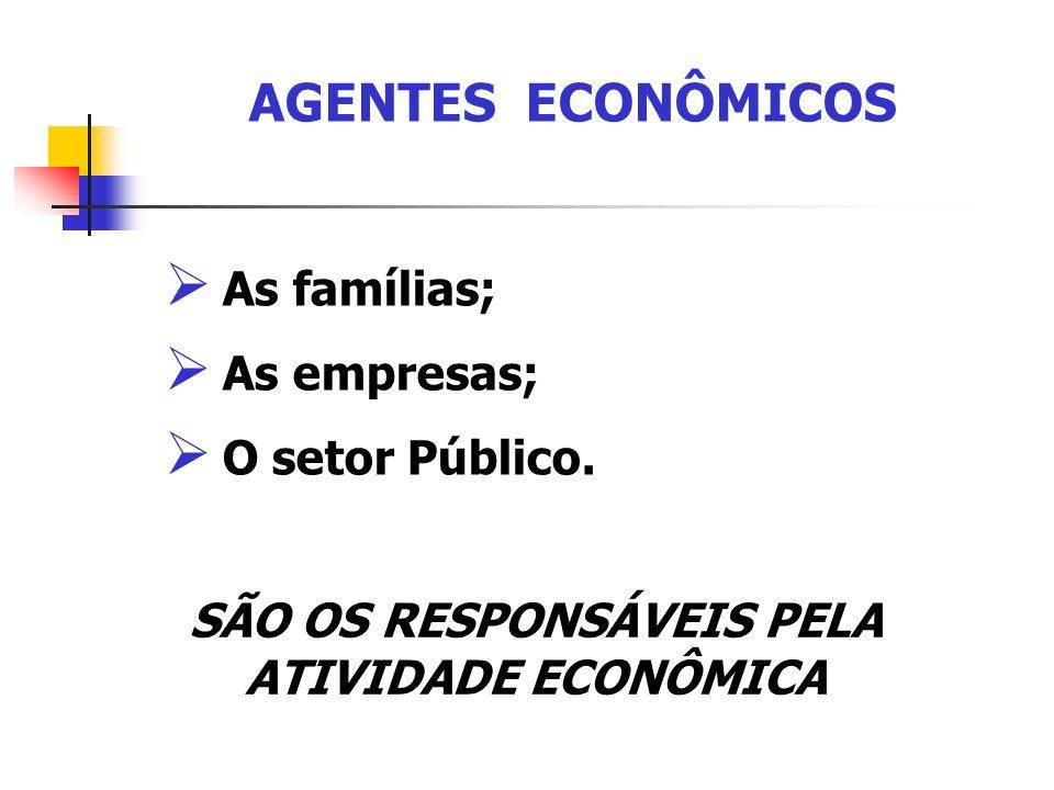 As famílias; As empresas; O setor Público. SÃO OS RESPONSÁVEIS PELA ATIVIDADE ECONÔMICA