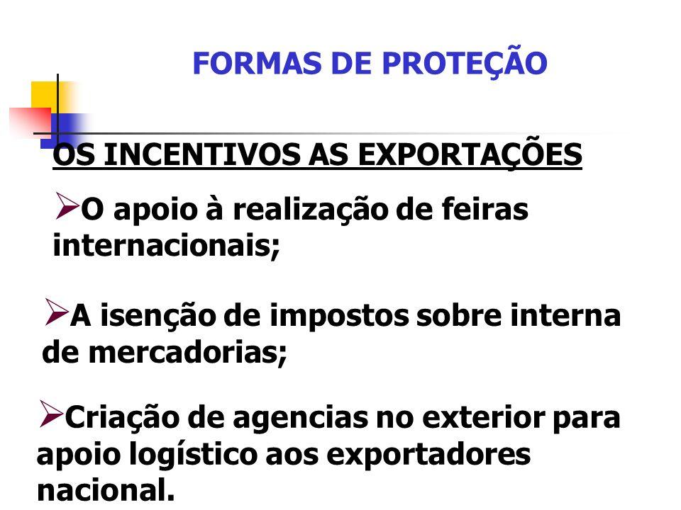 FORMAS DE PROTEÇÃO OS INCENTIVOS AS EXPORTAÇÕES O apoio à realização de feiras internacionais; A isenção de impostos sobre interna de mercadorias; Cri