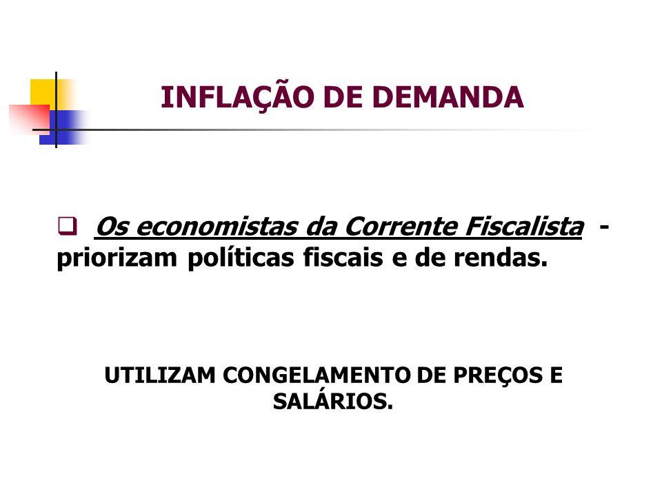 INFLAÇÃO DE DEMANDA Os economistas da Corrente Fiscalista - priorizam políticas fiscais e de rendas.