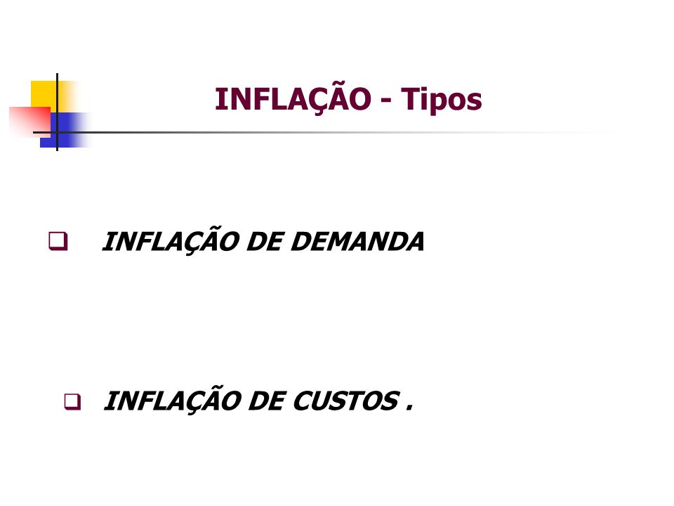 INFLAÇÃO - Tipos INFLAÇÃO DE DEMANDA INFLAÇÃO DE CUSTOS.