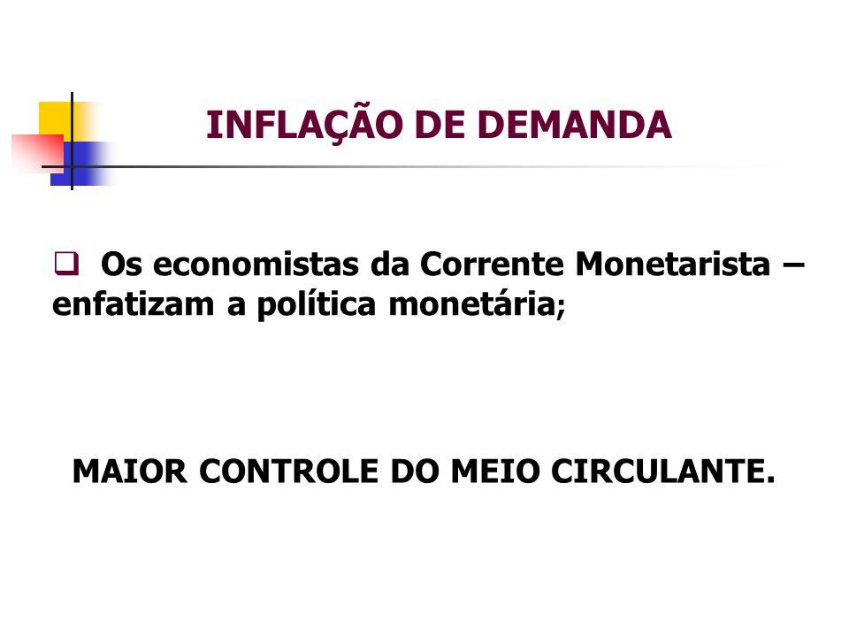 INFLAÇÃO DE DEMANDA Os economistas da Corrente Monetarista – enfatizam a política monetária ; MAIOR CONTROLE DO MEIO CIRCULANTE.