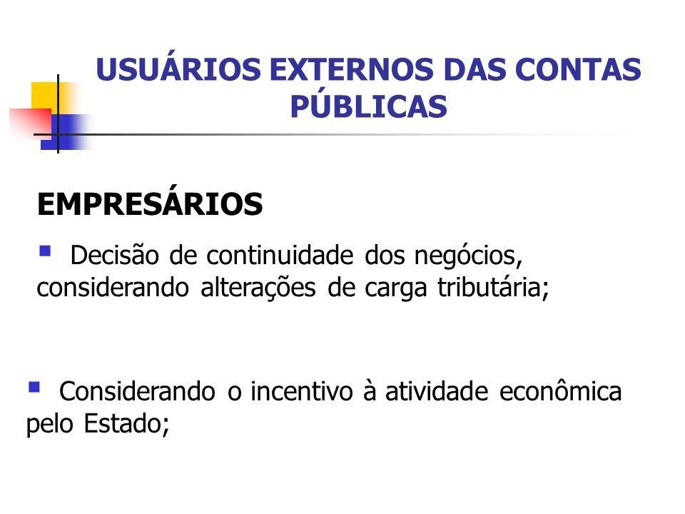 USUÁRIOS EXTERNOS DAS CONTAS PÚBLICAS INVESTIDORES (pessoas ou instituições) Análise de risco quanto à compra de títulos da dívida pública, entre outras alternativas de investimentos afetadas pelo estado.