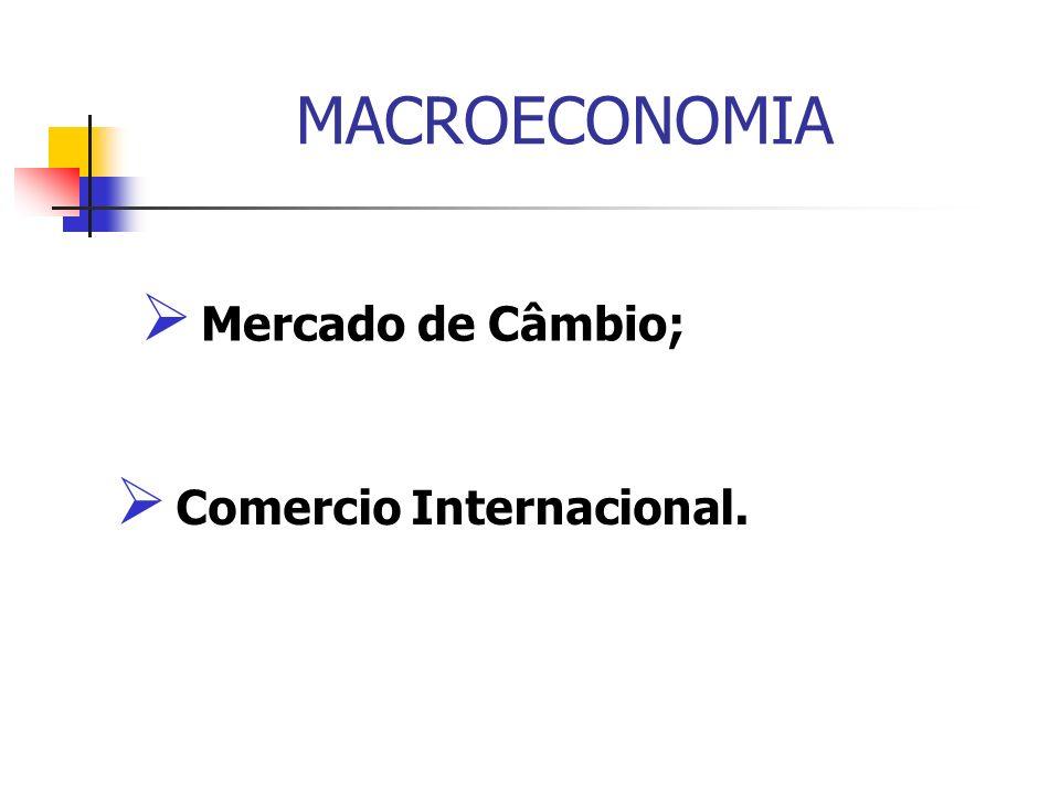 MACROECONOMIA Mercado de Câmbio; Comercio Internacional.