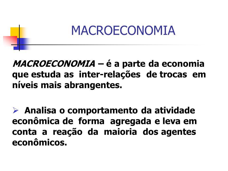 MACROECONOMIA – é a parte da economia que estuda as inter-relações de trocas em níveis mais abrangentes. Analisa o comportamento da atividade econômic