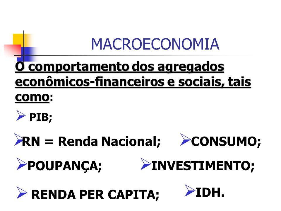MACROECONOMIA MACROECONOMIA ANALISA A ECONOMIA COMO UM TODO E ESTÁ FUNDAMENTADA, NOS SEGUINTES ASPECTOS: O comportamento do nível geral dos preços da economia; O nível de emprego e a taxa de desemprego;