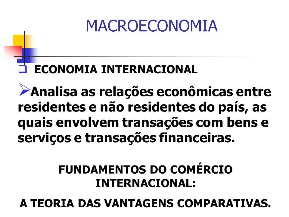 MACROECONOMIA ECONOMIA INTERNACIONAL Analisa as relações econômicas entre residentes e não residentes do país, as quais envolvem transações com bens e