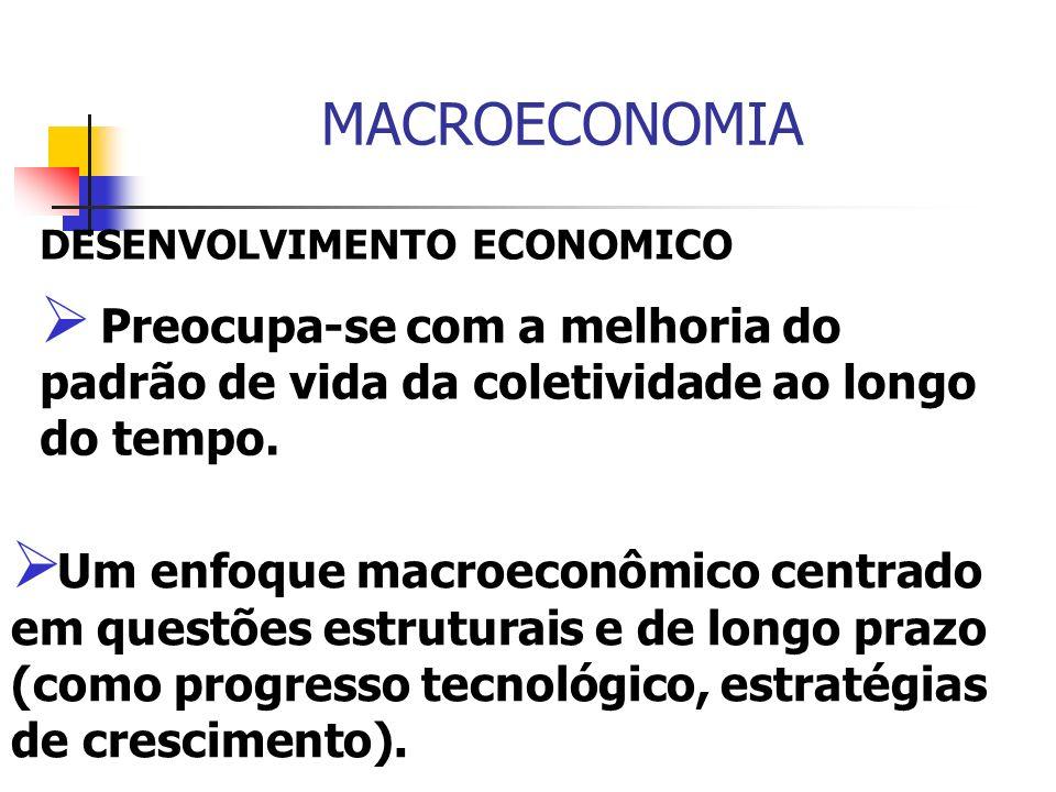 MACROECONOMIA DESENVOLVIMENTO ECONOMICO Preocupa-se com a melhoria do padrão de vida da coletividade ao longo do tempo. Um enfoque macroeconômico cent