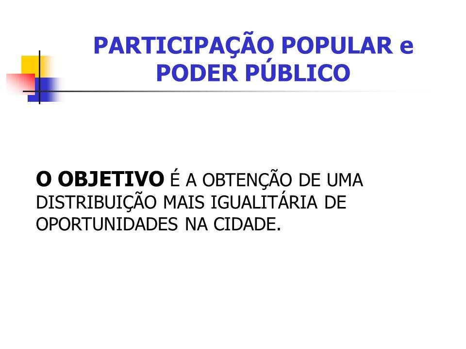 PARTICIPAÇÃO POPULAR e PODER PÚBLICO O OBJETIVO É A OBTENÇÃO DE UMA DISTRIBUIÇÃO MAIS IGUALITÁRIA DE OPORTUNIDADES NA CIDADE.