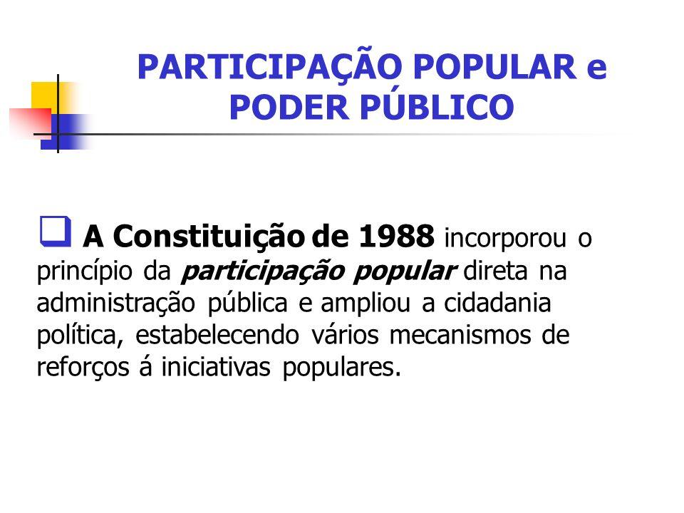 PARTICIPAÇÃO POPULAR e PODER PÚBLICO A Constituição de 1988 incorporou o princípio da participação popular direta na administração pública e ampliou a
