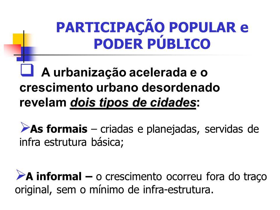 PARTICIPAÇÃO POPULAR e PODER PÚBLICO A informal – o crescimento ocorreu fora do traço original, sem o mínimo de infra-estrutura. dois tipos de cidades