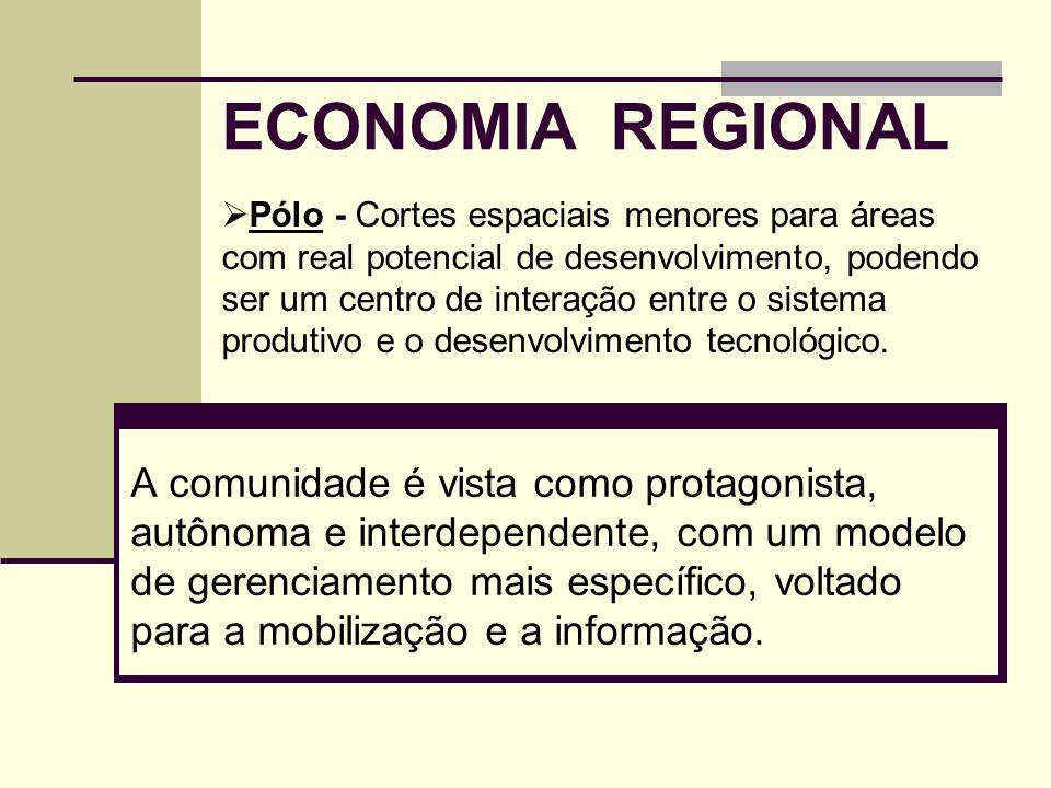 ECONOMIA REGIONAL A comunidade é vista como protagonista, autônoma e interdependente, com um modelo de gerenciamento mais específico, voltado para a m