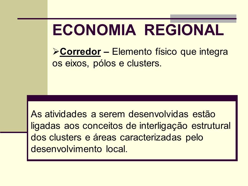 ECONOMIA REGIONAL As atividades a serem desenvolvidas estão ligadas aos conceitos de interligação estrutural dos clusters e áreas caracterizadas pelo