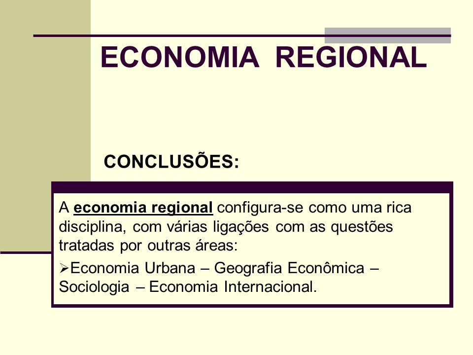 ECONOMIA REGIONAL economia regional A economia regional configura-se como uma rica disciplina, com várias ligações com as questões tratadas por outras