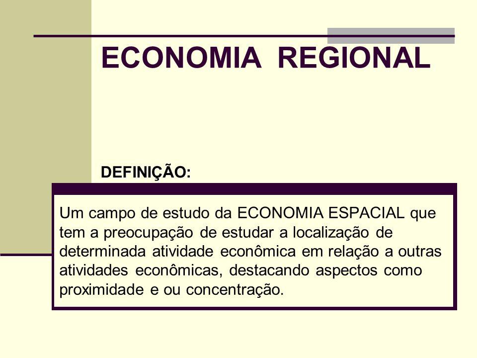 ECONOMIA REGIONAL Um campo de estudo da ECONOMIA ESPACIAL que tem a preocupação de estudar a localização de determinada atividade econômica em relação