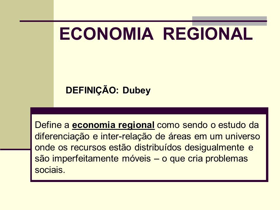ECONOMIA REGIONAL economia regional Define a economia regional como sendo o estudo da diferenciação e inter-relação de áreas em um universo onde os re