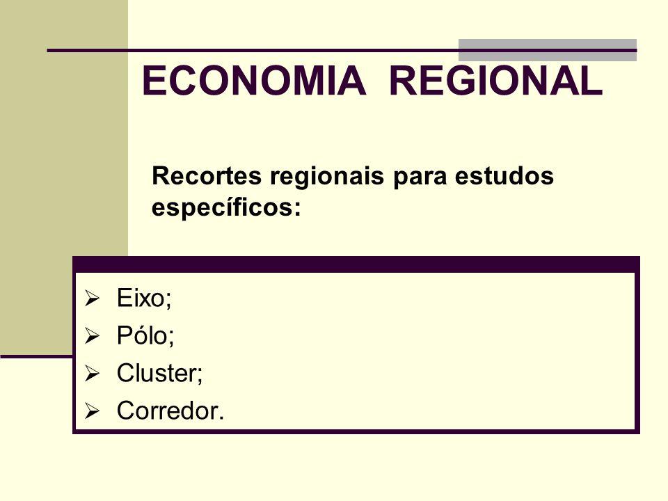 ECONOMIA REGIONAL Eixo; Pólo; Cluster; Corredor. Recortes regionais para estudos específicos: