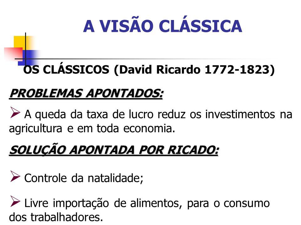 A VISÃO CLÁSSICA OS CLÁSSICOS (David Ricardo 1772-1823) PROBLEMAS APONTADOS: A queda da taxa de lucro reduz os investimentos na agricultura e em toda