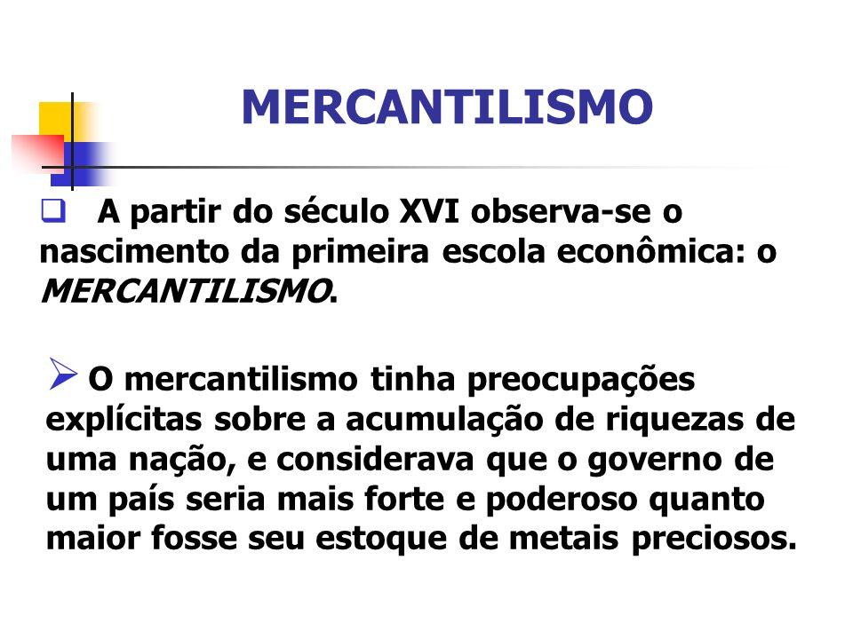 MERCANTILISMO A partir do século XVI observa-se o nascimento da primeira escola econômica: o MERCANTILISMO. O mercantilismo tinha preocupações explíci
