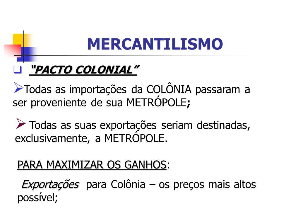 MERCANTILISMO PACTO COLONIAL Todas as importações da COLÔNIA passaram a ser proveniente de sua METRÓPOLE; Todas as suas exportações seriam destinadas,