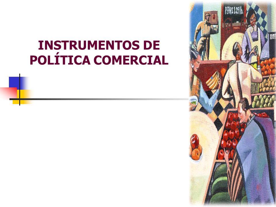 INSTRUMENTOS DE POLÍTICA COMERCIAL SUBSÍDIO Todos os estímulos dados para aumentar a oferta de produtos exportáveis; A idéia de subsídio envolve uma transferência de renda real das sociedade a um setor selecionado, no caso o exportador.