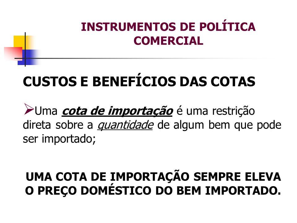 INSTRUMENTOS DE POLÍTICA COMERCIAL CUSTOS E BENEFÍCIOS DAS COTAS Uma cota de importação é uma restrição direta sobre a quantidade de algum bem que pod