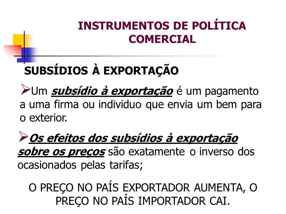 INSTRUMENTOS DE POLÍTICA COMERCIAL SUBSÍDIOS À EXPORTAÇÃO Um subsídio à exportação é um pagamento a uma firma ou individuo que envia um bem para o ext