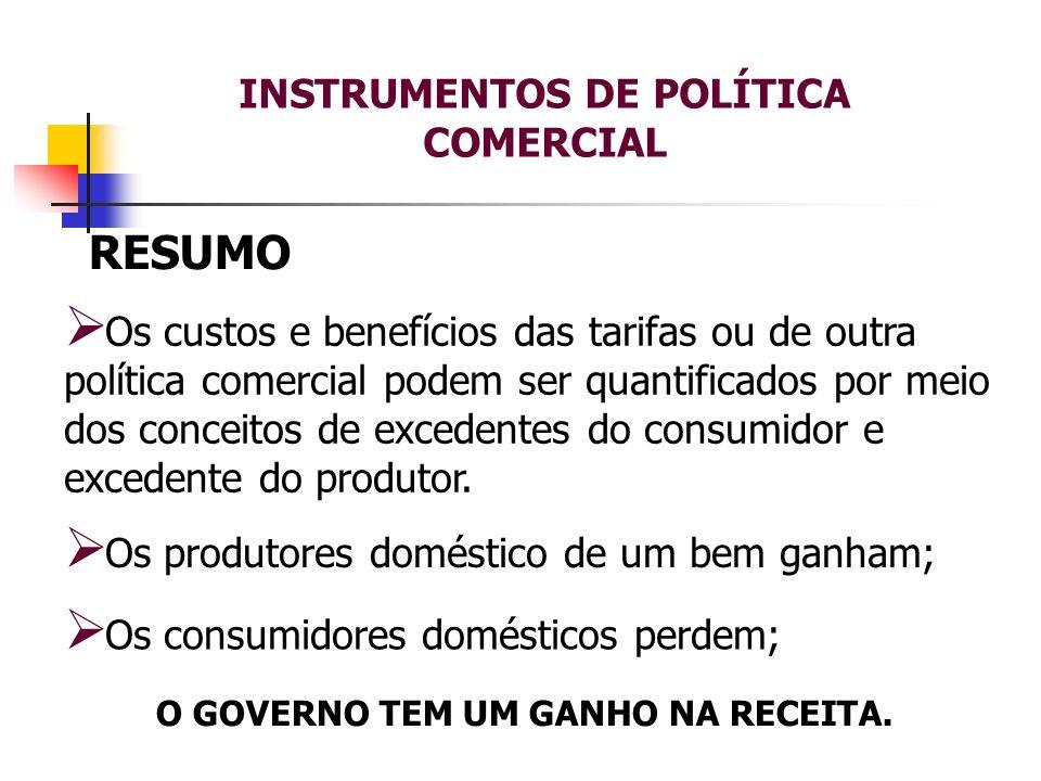 INSTRUMENTOS DE POLÍTICA COMERCIAL RESUMO Os custos e benefícios das tarifas ou de outra política comercial podem ser quantificados por meio dos conce
