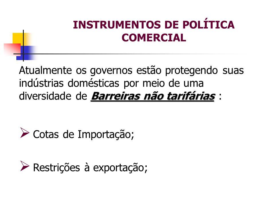INSTRUMENTOS DE POLÍTICA COMERCIAL Barreiras não tarifárias Atualmente os governos estão protegendo suas indústrias domésticas por meio de uma diversi