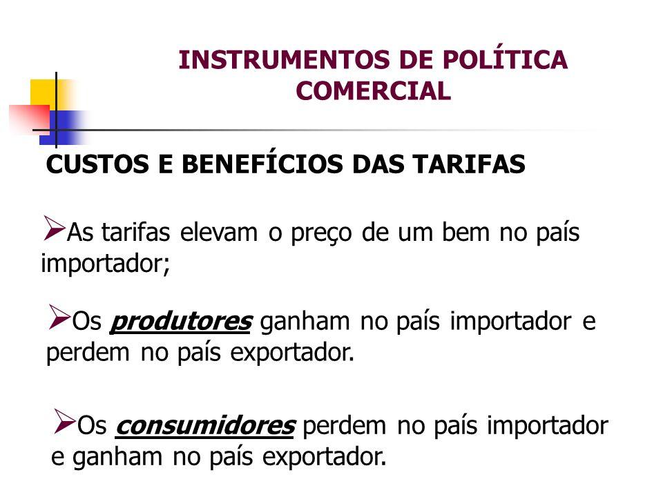 INSTRUMENTOS DE POLÍTICA COMERCIAL CUSTOS E BENEFÍCIOS DAS TARIFAS As tarifas elevam o preço de um bem no país importador; Os consumidores perdem no p