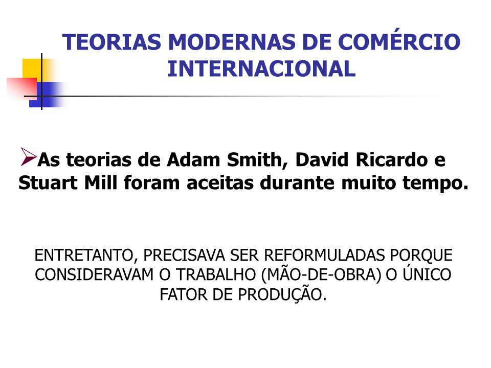 TEORIAS MODERNAS DE COMÉRCIO INTERNACIONAL As teorias de Adam Smith, David Ricardo e Stuart Mill foram aceitas durante muito tempo. ENTRETANTO, PRECIS