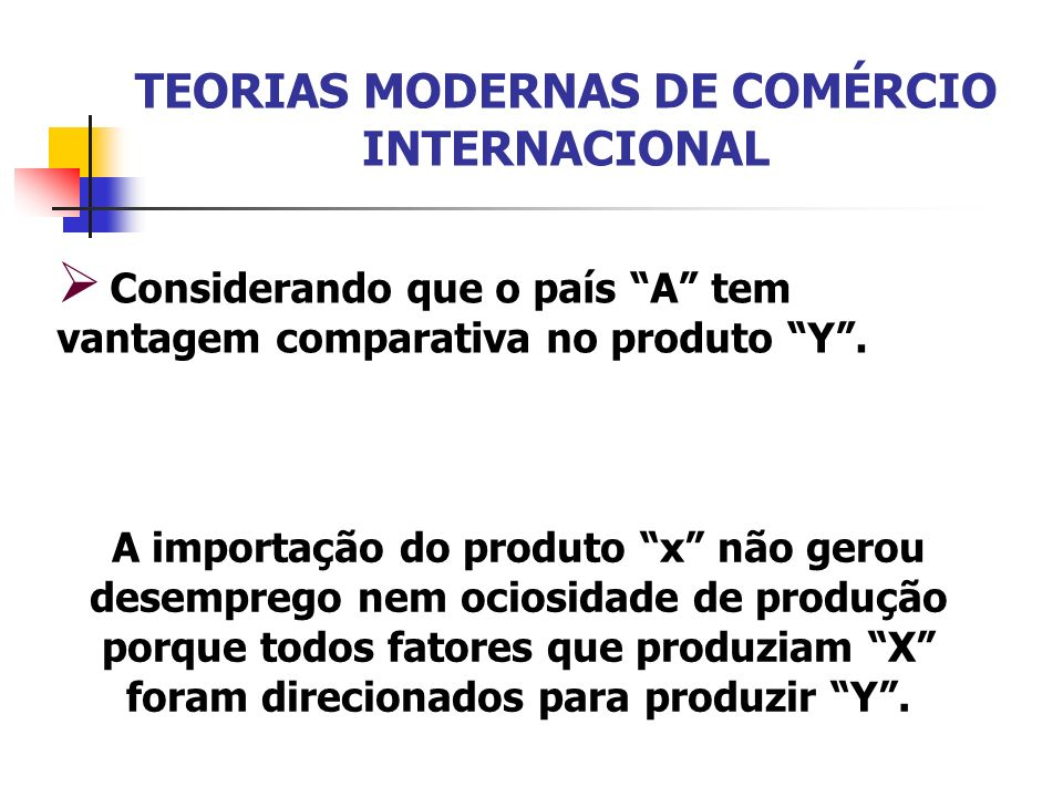 TEORIAS MODERNAS DE COMÉRCIO INTERNACIONAL Considerando que o país A tem vantagem comparativa no produto Y. A importação do produto x não gerou desemp