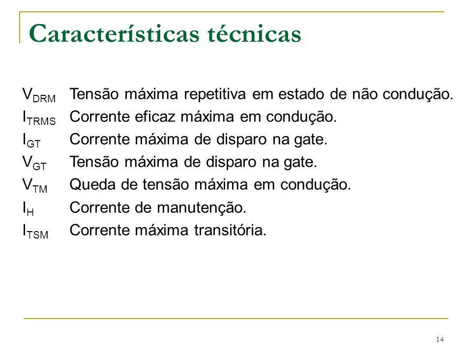 14 Características técnicas V DRM Tensão máxima repetitiva em estado de não condução. I TRMS Corrente eficaz máxima em condução. I GT Corrente máxima