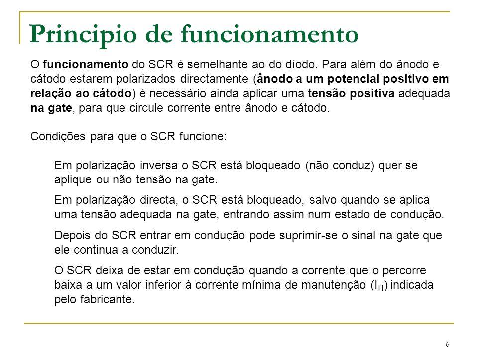 6 Principio de funcionamento O funcionamento do SCR é semelhante ao do díodo. Para além do ânodo e cátodo estarem polarizados directamente (ânodo a um